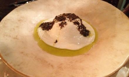 Potatoes and Porcini Mushrooms Flan with Parmesan Fondue and Black Truffle