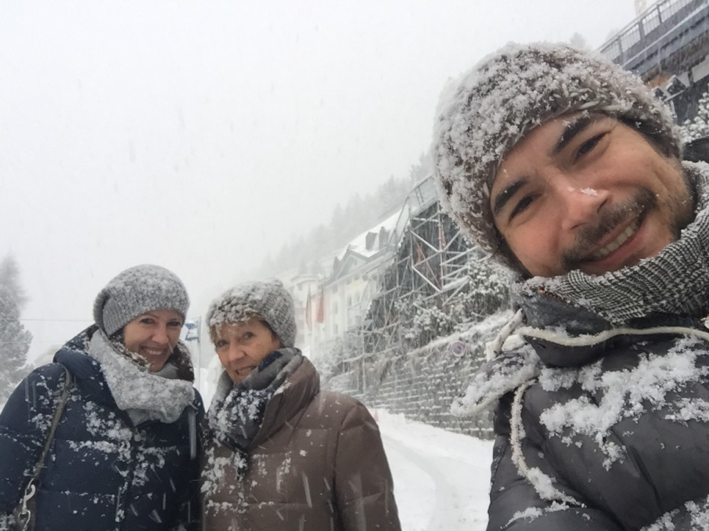 Walking in Davos with looots of snow.